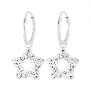 Wholesale Silver Star Crystal Charm Hoop Earrings