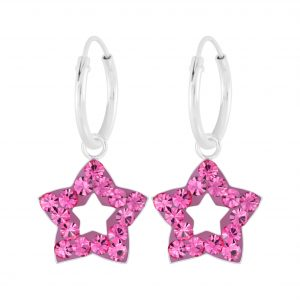 Wholesale Silver Star Crystal Charm Hoop Earrings