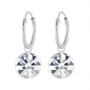 Wholesale Silver 7mm Charm Hoop Earrings with Swarovski Crystal
