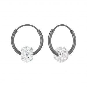 Wholesale Silver Crystal Ball Hoop Earrings