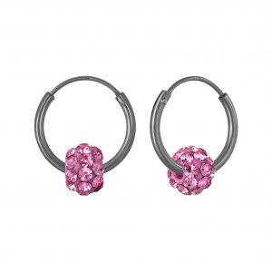 Wholesale Silver Crystal Ball Hoop Earrings