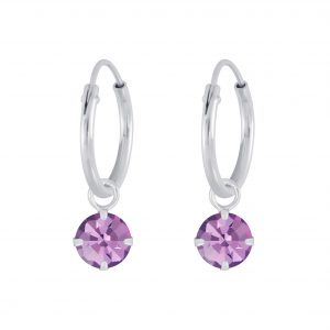 Wholesale Silver 4mm Charm Hoop Earrings with Swarovski Crystal