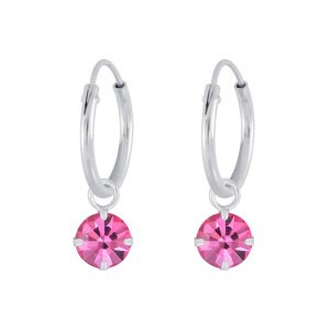 Wholesale Silver 4mm Charm Hoop Earrings with Swarovski Crystal
