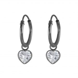 Wholesale 4mm Heart Cubic Zirconia Silver Charm Hoop Earrings