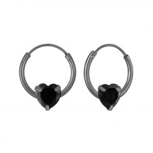Wholesale 4mm Heart Cubic Zirconia Silver Hoop Earrings