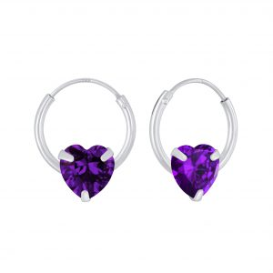Wholesale 6mm Heart Cubic Zirconia Silver Hoop Earrings