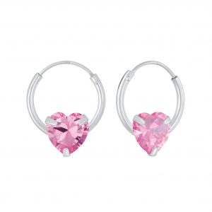 Wholesale 6mm Heart Cubic Zirconia Silver Hoop Earrings