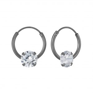 Wholesale 4mm Round Cubic Zirconia Silver Hoop Earrings