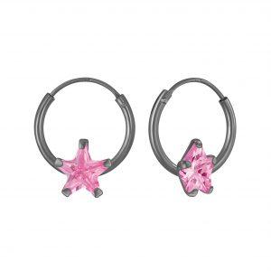 Wholesale 6mm Star Cubic Zirconia Silver Hoop Earrings