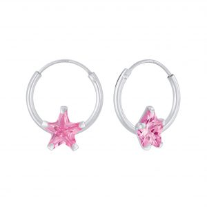 Wholesale 6mm Star Cubic Zirconia Silver Hoop Earrings