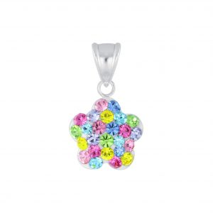 Wholesale Silver Flower Crystal Pendant