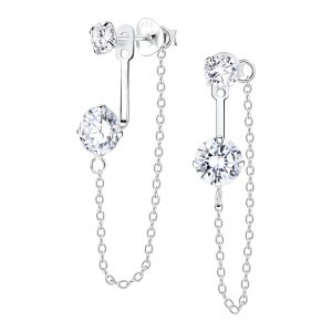 Wholesale Sliver Double Round Ear Jacket With Chain