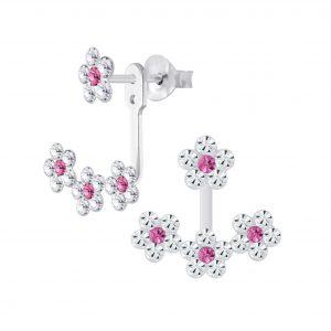 Wholesale Sliver Flower Crystal Ear Jacket