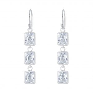 Wholesale Silver Rectangle Cubic Zirconia Earrings