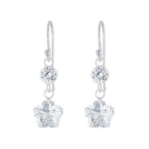 Wholesale Silver Flower Cubic Zirconia Earrings