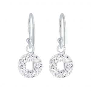 Wholesale Silver Circles Crystal Earrings