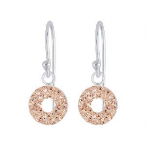 Wholesale Silver Circles Crystal Earrings