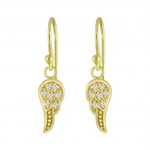 Wholesale Silver Wing Cubic Zirconia Earrings