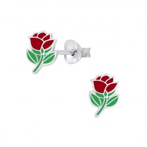 Wholesale Silver Rose Stud Earrings