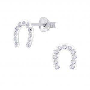 Wholesale Silver Horseshoe Crystal Stud Earrings