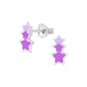 Wholesale Silver Triple Star Stud Earrings