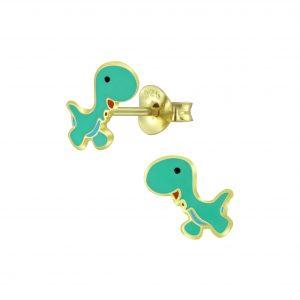 Wholesale Silver Dinosaur Stud Earrings