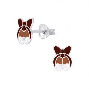 Wholesale Silver Dog Stud Earrings