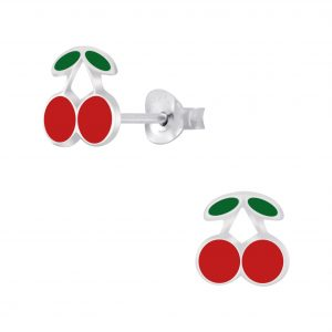 Wholesale Silver Cherry Stud Earrings