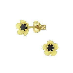 Wholesale Silver Flower Cubic Zirconia Stud Earrings