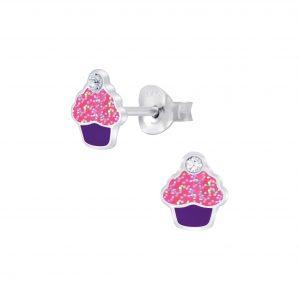Wholesale Silver Cupcake Crystal Stud Earrings