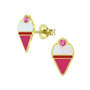 Wholesale Silver Ice Cream Stud Earrings