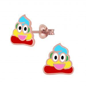 Wholesale Silver Smiling Poo Stud Earrings