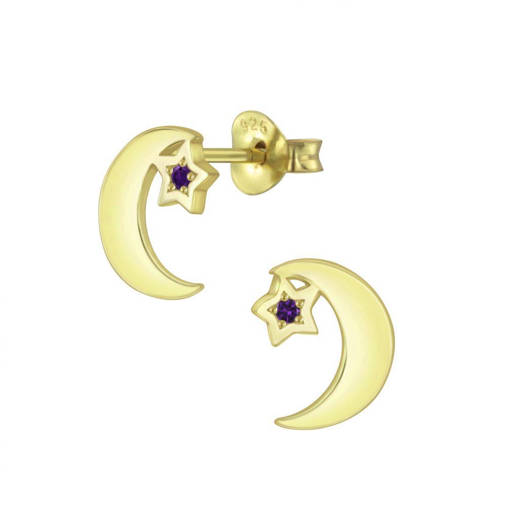 Wholesale Silver Star Moon Cubic Zirconia Stud Earrings