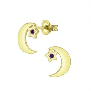 Wholesale Silver Star Moon Cubic Zirconia Stud Earrings