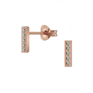 Wholesale Silver Bar Crystal Stud Earrings