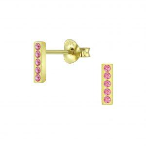 Wholesale Silver Bar Crystal Stud Earrings