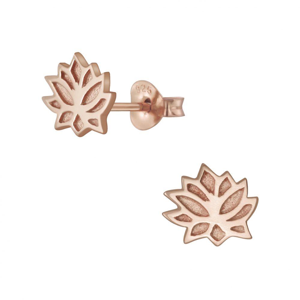 Wholesale Silver Lotus Flower Stud Earrings