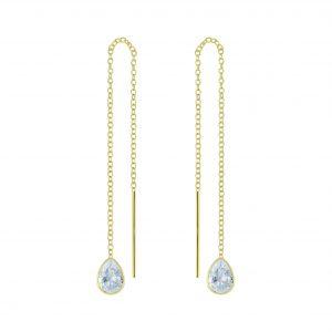 Wholesale 4X6 Pear Cubic Zirconia Silver Thread Through Earrings