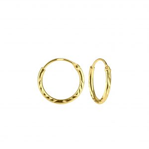 Wholesale 12mm Silver Diamond Cut Hoop Earrings