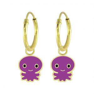 Wholesale Silver Octopus Charm Hoop Earrings