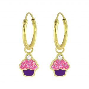 Wholesale Silver Cupcake Crystal Charm Hoop Earrings