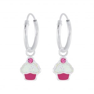 Wholesale Silver Cupcake Crystal Charm Hoop Earrings