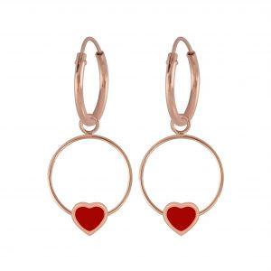 Wholesale Silver Heart Wire Charm Hoop Earrings