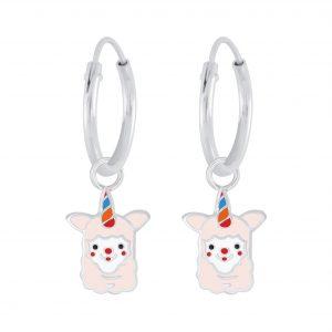 Wholesale Silver Alpaca Charm Hoop Earrings