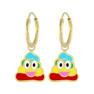 Wholesale Silver Smiling Poo Charm Hoop Earrings