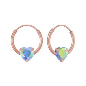 Wholesale 4mm Heart Cubic Zirconia Silver Hoop Earrings