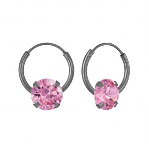 Wholesale 6mm Round Cubic Zirconia Silver Hoop Earrings