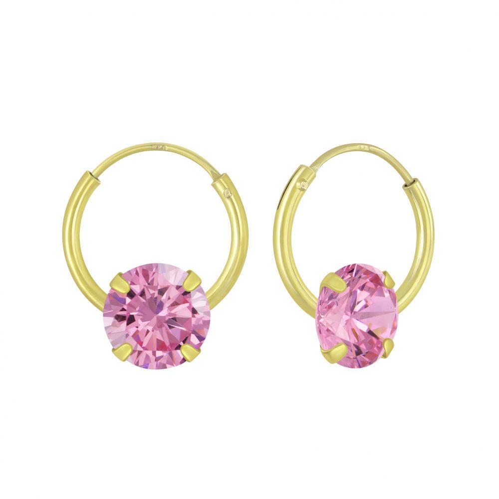Wholesale 6mm Round Cubic Zirconia Silver Hoop Earrings