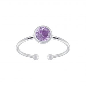 Wholesale 5mm Silver Open Ring with Crystals from Swarovski®