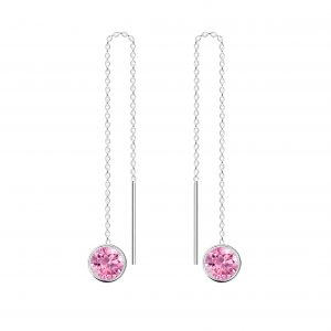 Wholesale 6mm Round Cubic Zirconia Silver Thread Through Earrings